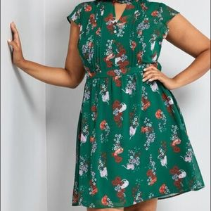 ModCloth Oh Say Can Museum Green Cat Dress